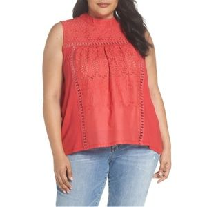 Caslon Embroidered High Neck Tank Plus Size 2X